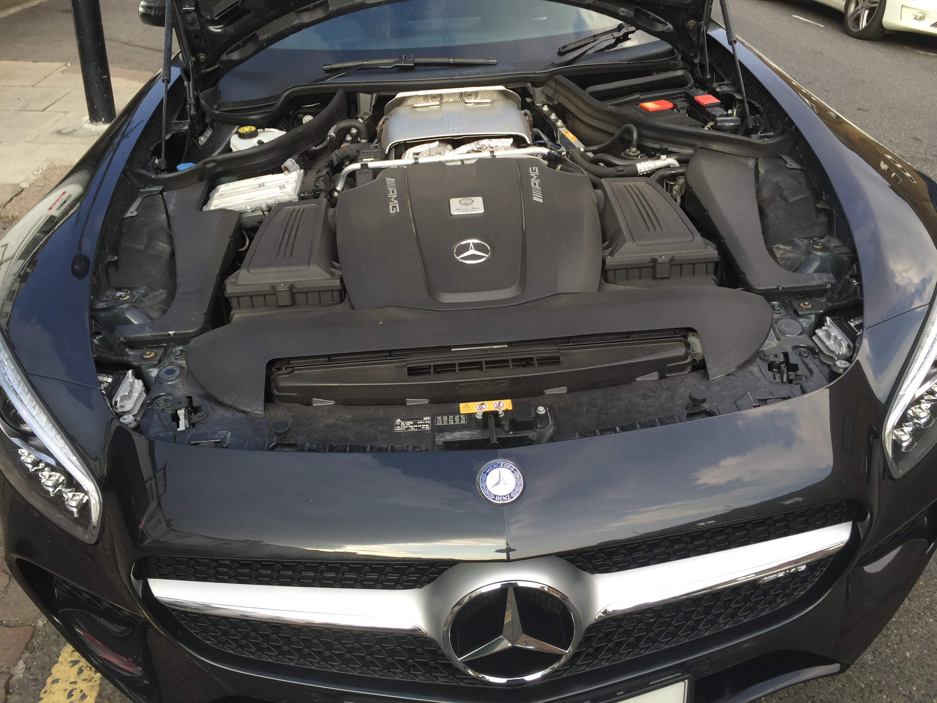 Under the hood of a Mercedes car